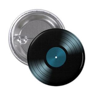 Rock n Roll Vinyl Record Album in Blue Pinback Button