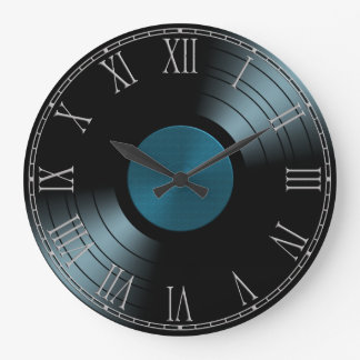Rock n Roll Vinyl Record Album in Blue Wall Clocks
