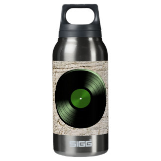 Rock n Roll Vinyl Record Album in Green Insulated Water Bottle