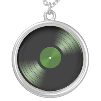 Rock n Roll Vinyl Record Album in Green Personalized Necklace