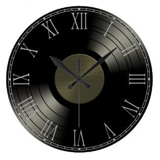 Rock n Roll Vinyl Record Album Large Clock