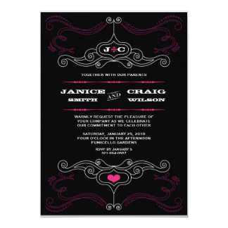 Rock n Roll Wedding Poster (Black / Pink) Card