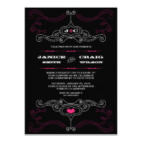 Rock n Roll Wedding Poster (Black / Pink) Personalized Invitation