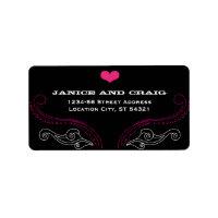 Rock 'n' Roll Wedding Poster (Black / Pink) Custom Address Labels