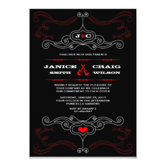 Rock n Roll Wedding Poster (Black / Red) Personalized Invitations