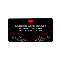Rock 'n' Roll Wedding Poster (Black / Red) Personalized Address Labels