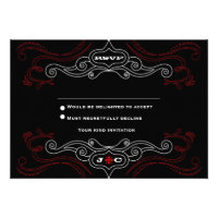 Rock 'n' Roll Wedding Poster (Black / Red) RSVP Personalized Announcement