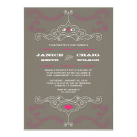 Rock n Roll Wedding Poster (Pewter / Pink) Personalized Announcements