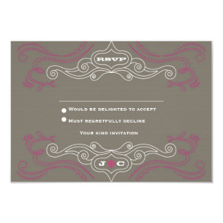 Rock 'n' Roll Wedding Poster (Pewter / Pink) RSVP 3.5x5 Paper Invitation Card