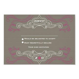 Rock 'n' Roll Wedding Poster (Pewter / Pink) RSVP Card