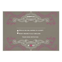 Rock 'n' Roll Wedding Poster (Pewter / Pink) RSVP Custom Announcements