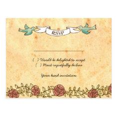 Rock 'n' Roll Wedding (Roses) RSVP Postcard