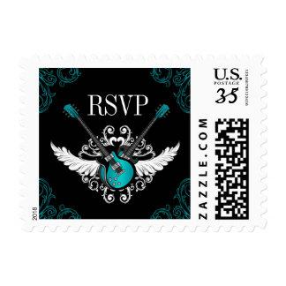 Rock n Roll Wedding RSVP Teal Black stamps