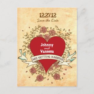 Rock 'n' Roll Wedding Save the Date (Roses) postcard