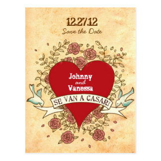 Rock 'n' Roll Wedding (Spanish) Save the Date Post Card