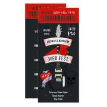 Rock n' Roll Wedding ticket custom Invitation