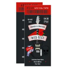 Rock N' Roll Wedding Ticket Custom Invitation at Zazzle