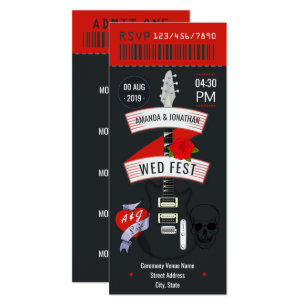Rock N Roll Wedding Ticket Custom Invitation
