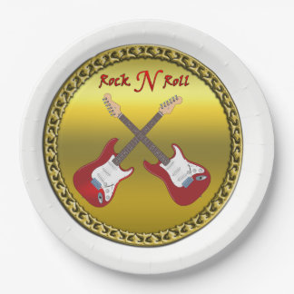 Rock N roll with electric guitars Paper Plate