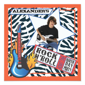 Rock N'Roll Rock Star Birthday Party Invitations