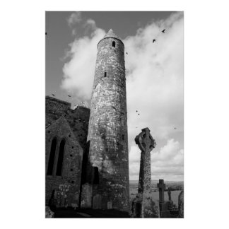 rock of cashel in black and white poster