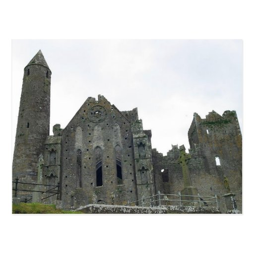 Rock Of Cashel Ruins Round Towers Postcard