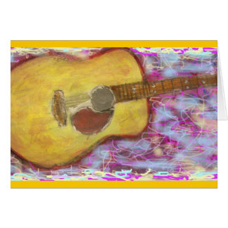 Rock On acoustic guitar Greeting Card