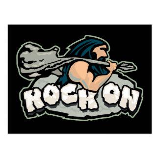 Rock On Caveman Postcard