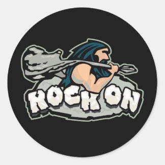 Rock On Caveman Classic Round Sticker