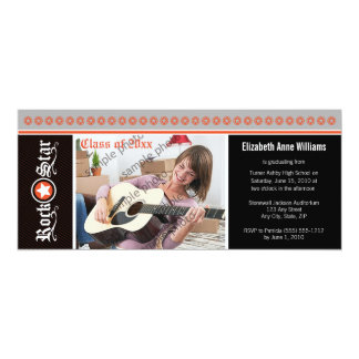"Rock on! Customized Graduation Announcement: coral 4"" X 9.25"" Invitation Card"