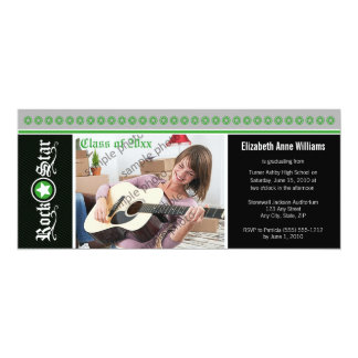 "Rock on! Customized Graduation Announcement: green 4"" X 9.25"" Invitation Card"