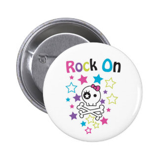 ROCK ON CUTE SKULLS AND BONES FOR GIRLS PINBACK BUTTON