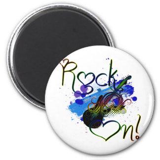 Rock On (dark) 2 Inch Round Magnet