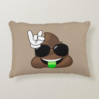 Rock On Emoji Poop Decorative Pillow