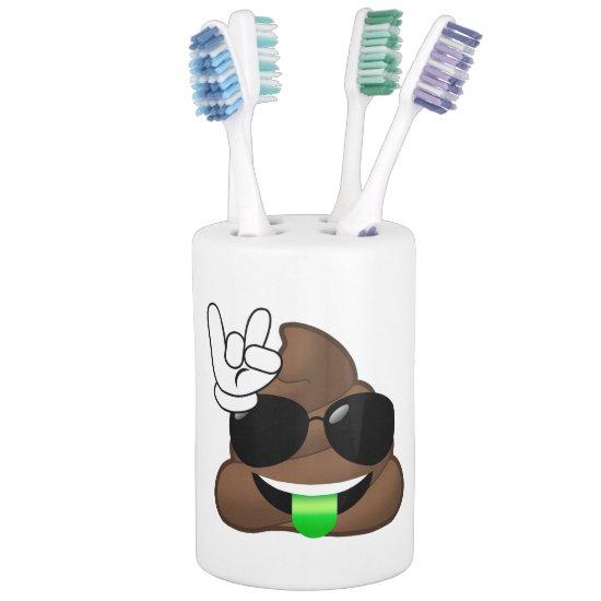 Rock On Emoji Poop Soap Dispenser And Toothbrush Holder
