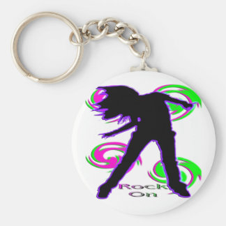 Rock On Girl T-Shirts & Gifts Basic Round Button Keychain