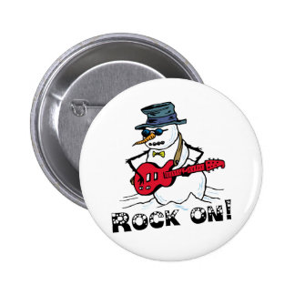 Rock On Guitar Playing Snowman 2 Inch Round Button