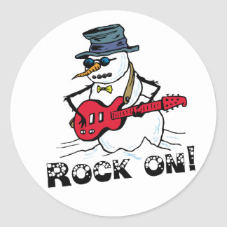 Rock On Guitar Playing Snowman Sticker