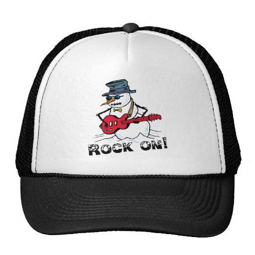 Rock On Guitar Playing Snowman Trucker Hat