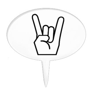 Rock on hand sign cake topper