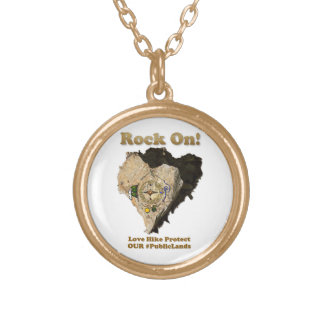ROCK ON! Love Hike Protect Our Public Lands Gold Plated Necklace
