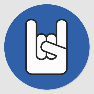 rock on rock hand blue icon sticker