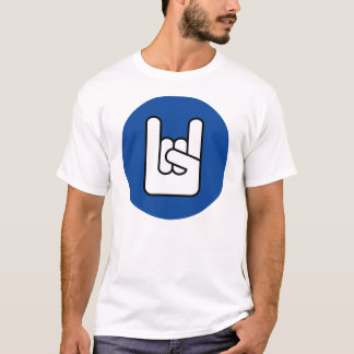 rock on rock hand blue shirt