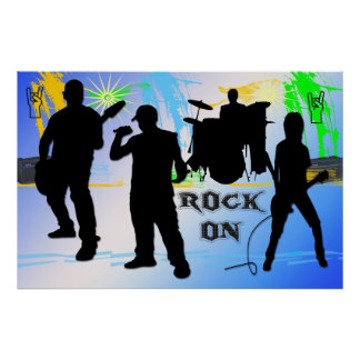 Rock On - Rock n' Roll Band 36x24 Poster