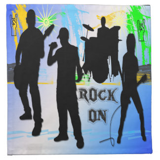 Rock On - Rock n' Roll Band American MoJo Cocktail Cloth Napkin