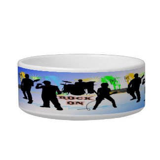 Rock On - Rock n' Roll Band Cat Pet Bowl