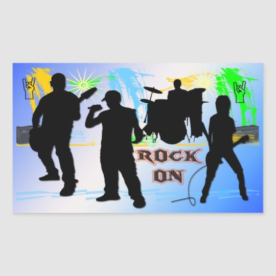 Rock On - Rock n' Roll Band Rectangle Sticker