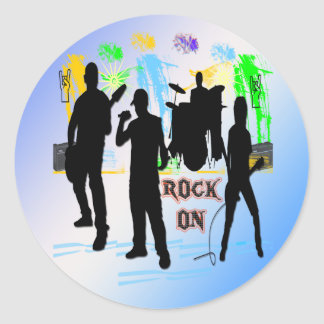 Rock On - Rock n' Roll Band Round Sticker
