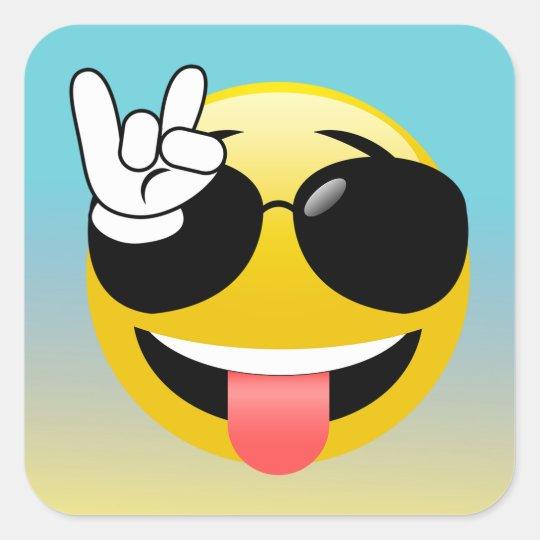 Rock On Smiley Emoji Ombre Stickers Zazzle Com