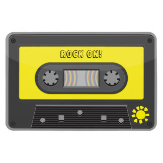 Rock on yellow  cassette with rainbow tape magnet